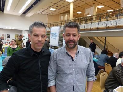 Bertrand Galic et Marc Lizano à la Biennale du livre d'histoire à Pontivy, le 24 avril.