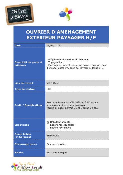 Pays de plo rmel mission locale encore 3 postes for Espace vert emploi