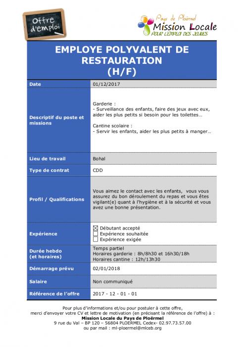 Pays de plo rmel les nouvelles offres d 39 emploi de la for Offre emploi agent de restauration
