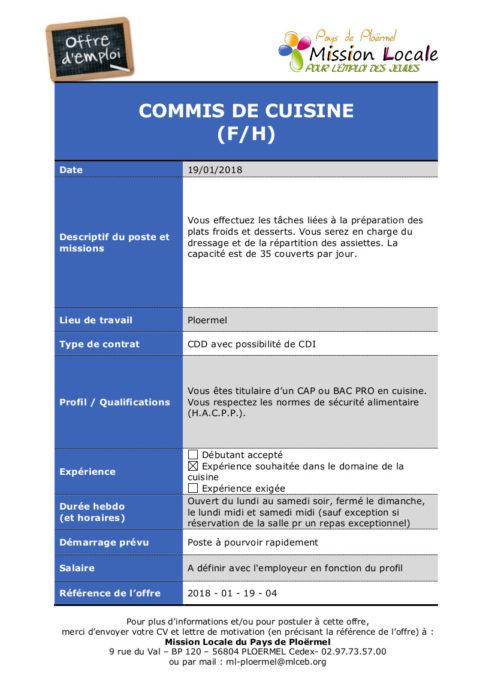 Pays de plo rmel dix offres d 39 emploi propos es par la for Recherche commis de cuisine