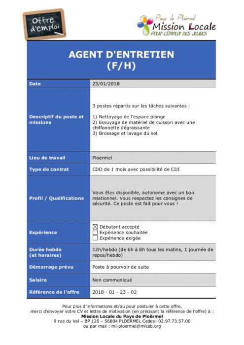 S04 - 2018 - 01 - 23 - 02 Agent d'entretien Ploermel