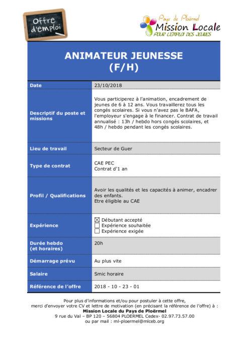 S43 - 2018 - 10 - 23 - 01 CAE Animateur jeunesse centre social de Guer