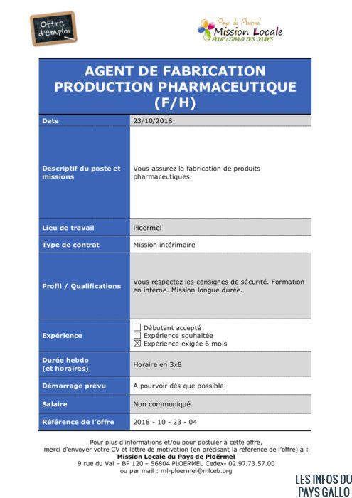 S43 - 2018 - 10 - 23 - 04 Agent de fabrication pharmaceutique
