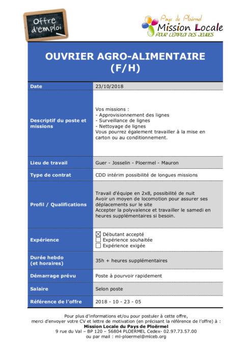 S43 - 2018 - 10 - 23 - 05 Ouvrier agro alimentaire Guer, Josselin, Plo