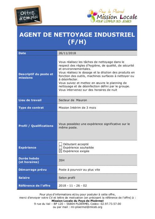 S48 - 2018 - 11 - 26 - 02 Agent de nettoyage industriel St Lery Manpower