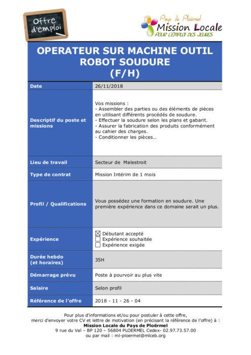S48 - 2018 - 11 - 26 - 04 Operateur sur machine outil Robot Soudure Malestroit Manpower