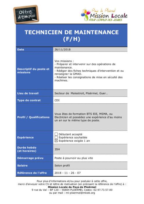 S48 - 2018 - 11 - 26 - 07 Technicien de maintenance Malestroit, Ploermel
