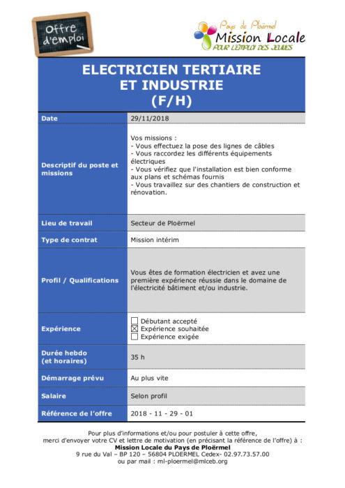 S48 - 2018 - 11 - 29 - 01 Electricien tertiaire et industrie TEMPORIS