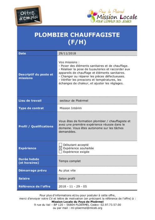 S48 - 2018 - 11 - 29 - 05 Plombier Chaufagiste Plo Temporis