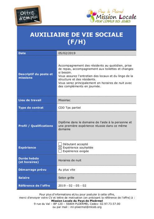 S06 - 2019 - 02 - 05 - 02 Auxiliaire de vie sociale Residence Les Ormes