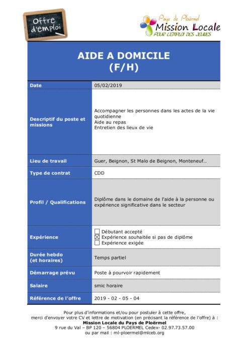 S06 - 2019 - 02 - 05 - 04 Aide à Domicile ADMR secteur de Guer