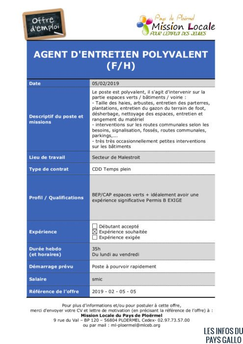 S06 - 2019 - 02 - 06 - 05 Agent d'entretien polyvalent Mairie de Caro